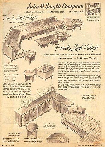 Frank Lloyd Wright Furniture Article 1955 Frank Lloyd Wright Furniture Lloyd Wright Frank Lloyd Wright