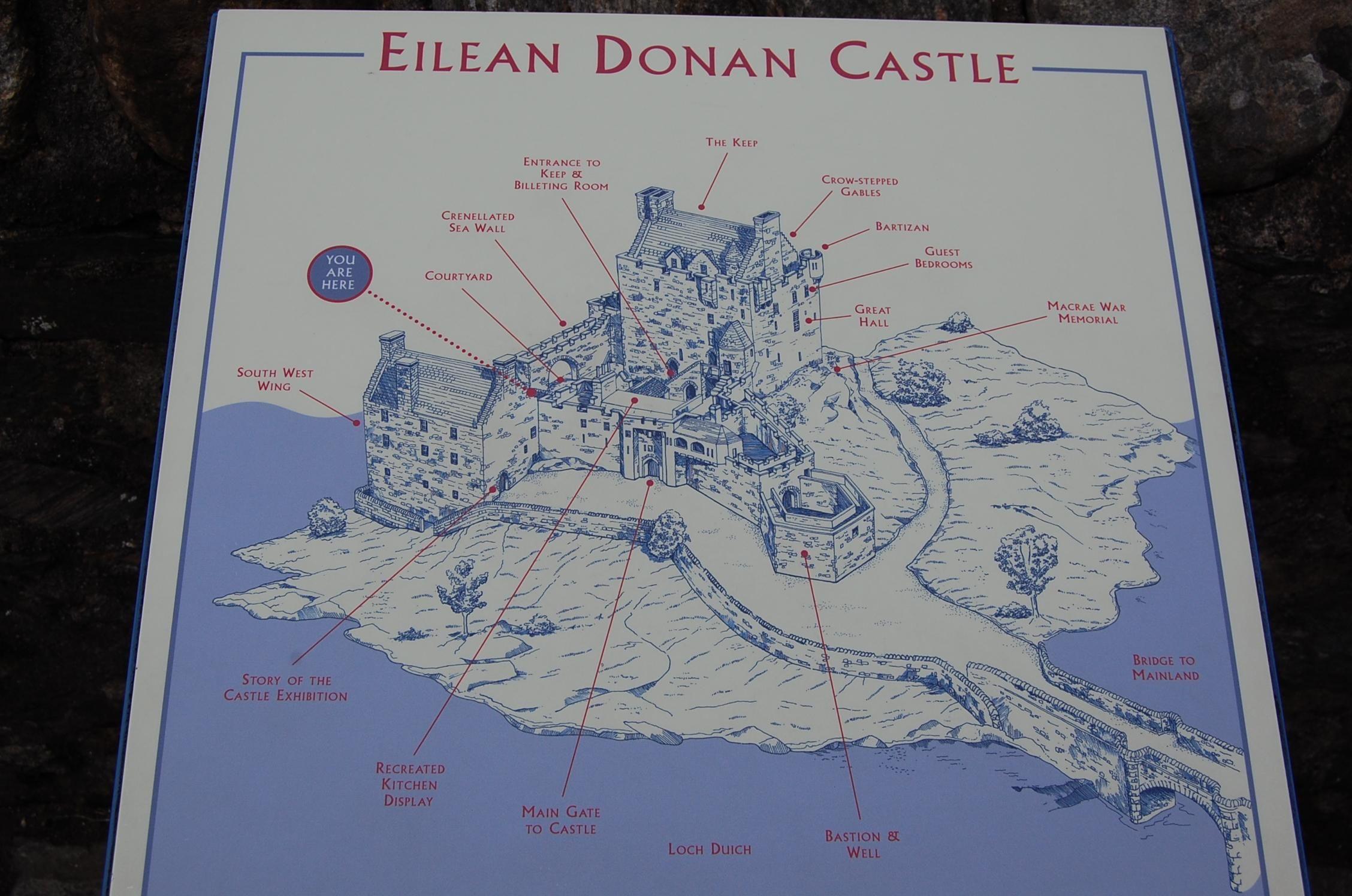 Eilean Donan Castle Movies | Und hier noch eine Übersichtstafel über die Anlage selber.