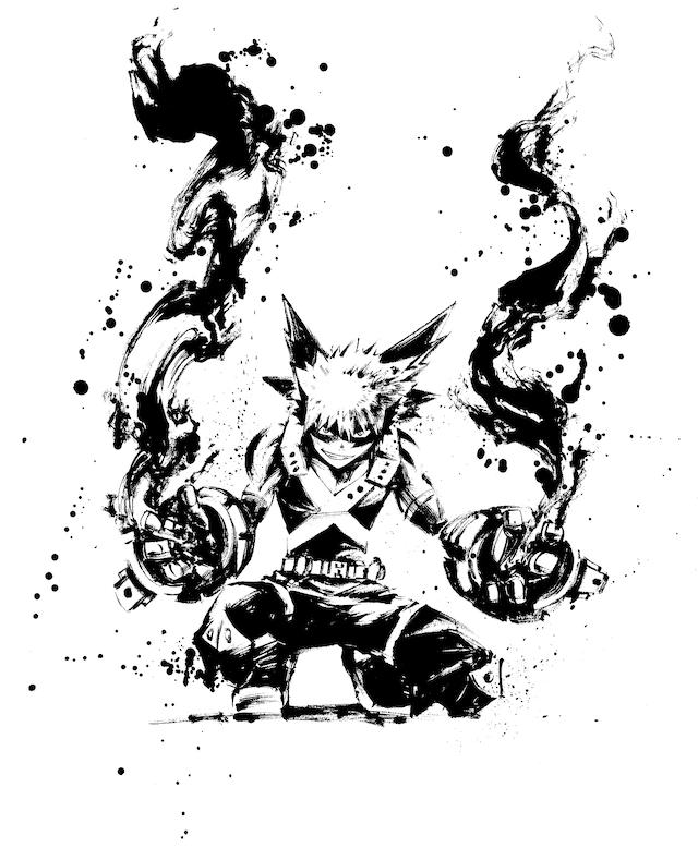 僕のヒーローアカデミア の水墨画アート 爆豪 画像ギャラリー 3 7 コミックナタリー 2020 イラスト アニメのタトゥー 画