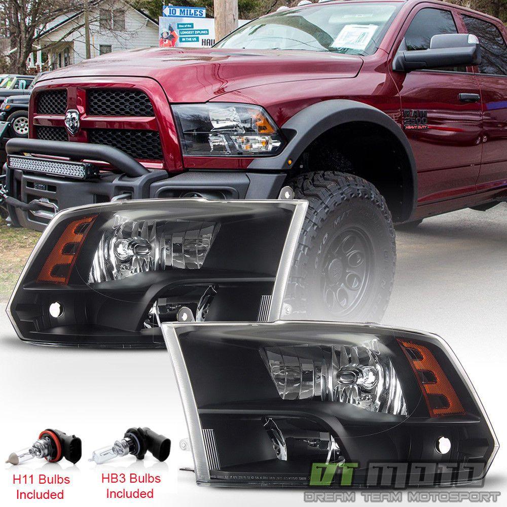 2009 2018 Dodge Ram 1500 10 18 2500 3500 Headlights Black Quad Style Headlamps Dodge Ram Dodge Ram 1500 Dodge