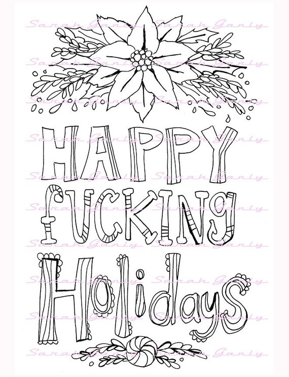 Holiday Swear Word Coloring Book 21 Pages Swear Coloring Pdf Jpeg
