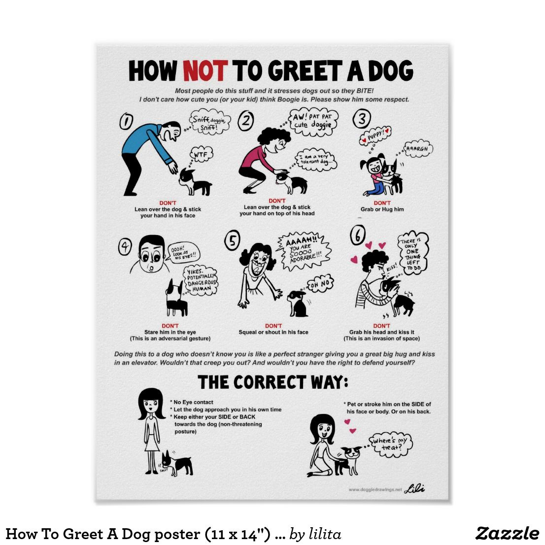 How To Greet A Dog Poster 11 X 14 By Lili Chi Zazzle Com