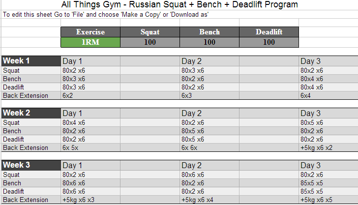 russian squat routine spreadsheet calculator update masters