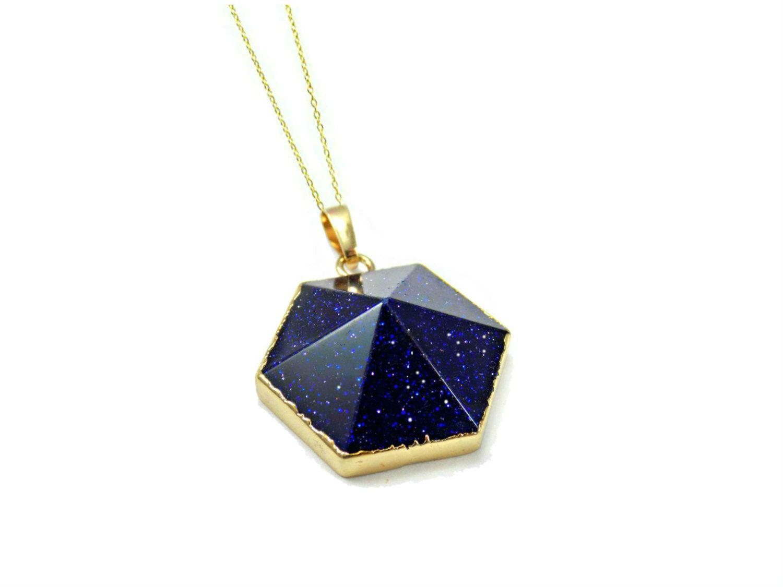 Blue stone pendant blue goldstone necklace gemstone pendant gift blue stone pendant blue goldstone necklace gemstone pendant gift for wife womens aloadofball Image collections