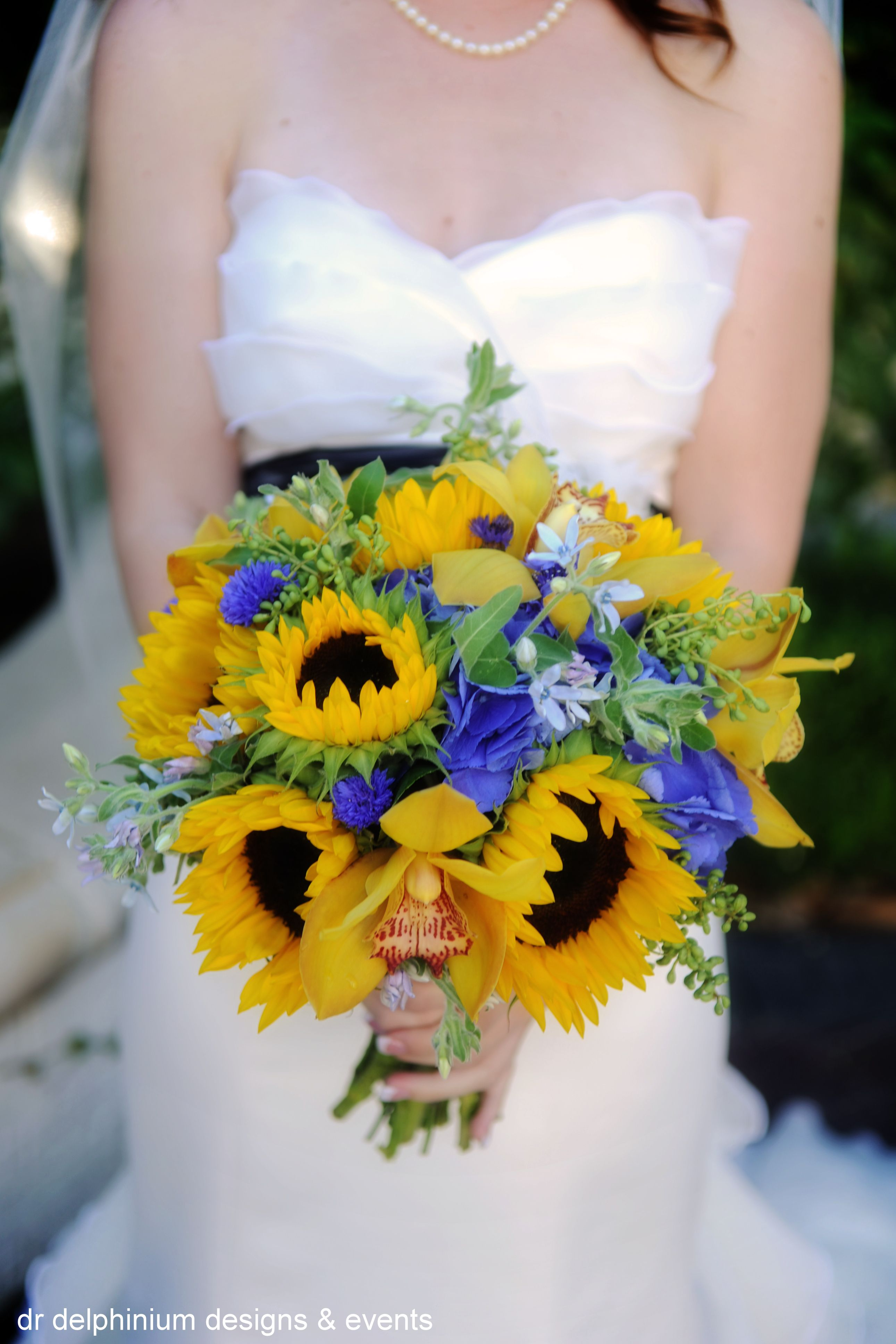 Yellow And Blue Flowers Bouquet Royal Blue And Yellow Wedding