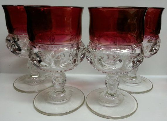Tiffin Glass Cranberry Flash Kings Crown Ruby Thumbprint