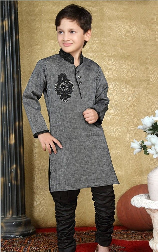 Grey Black Shalwar Kameez For Baby Boys Wedding Outfit