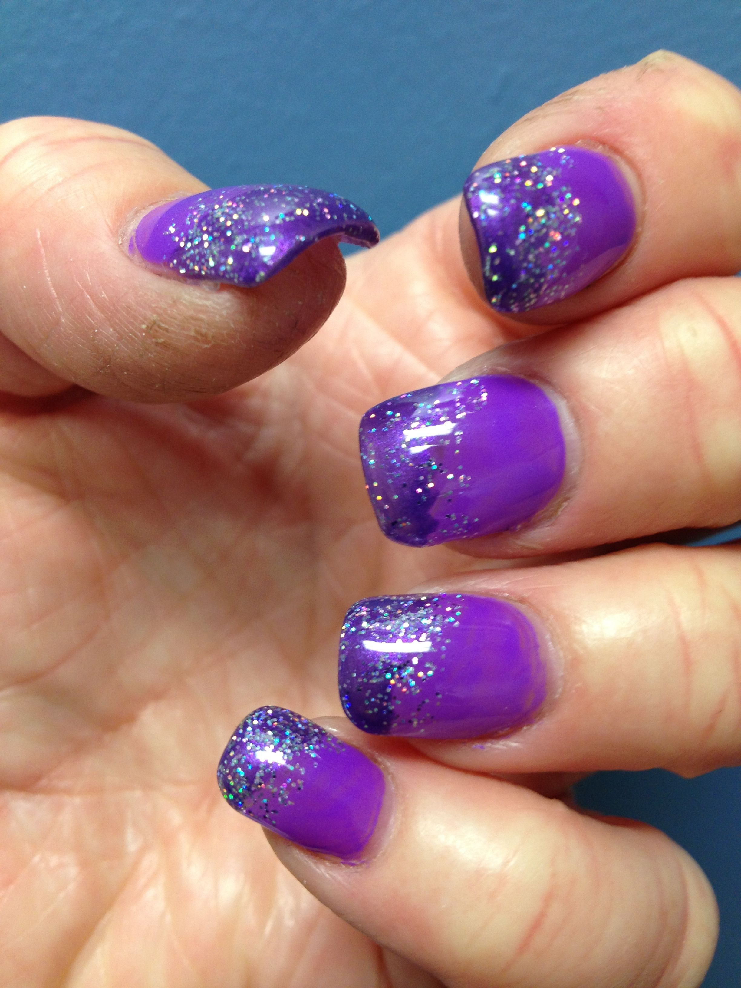 My new nails... Purple with silver glitter ombre. (With ...