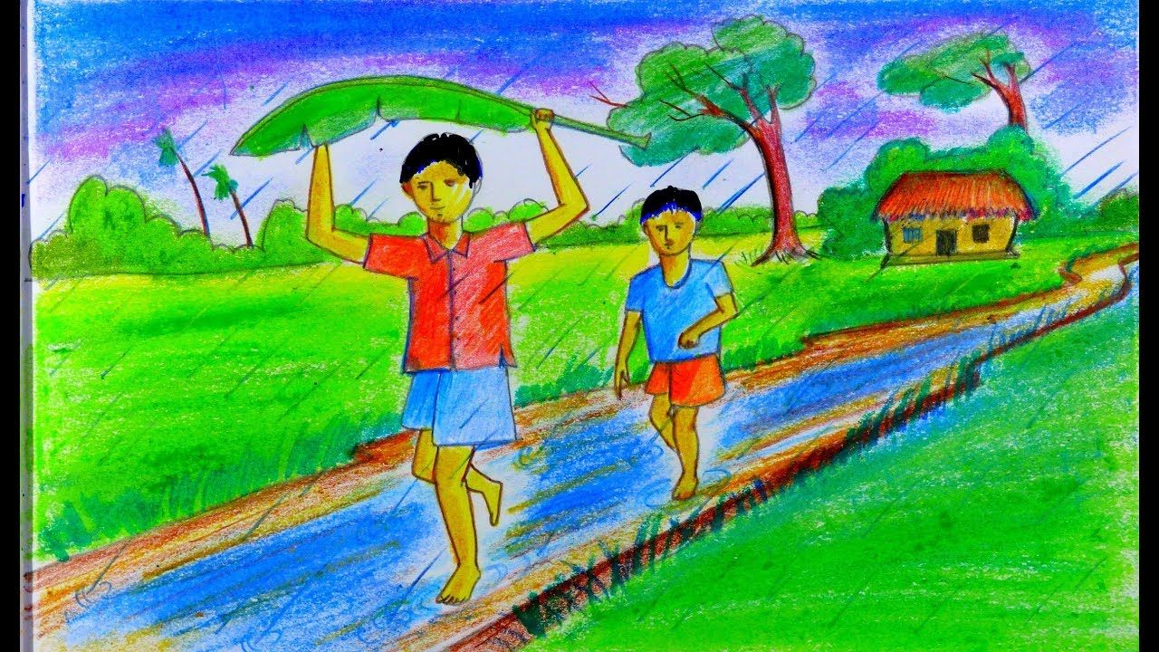 How to draw rainy season in village easy scenary drawing for kids