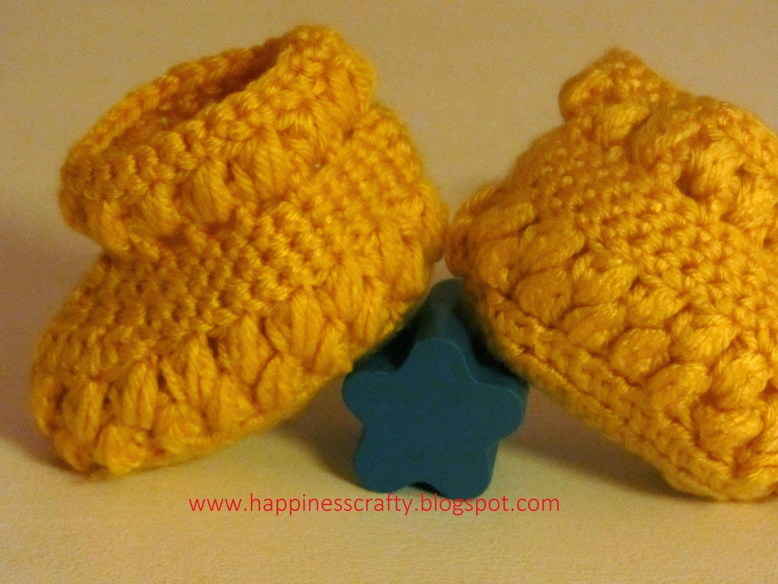 Happiness Crafty: Crochet Baby Booties ~ Newborn to 12 mth sizes