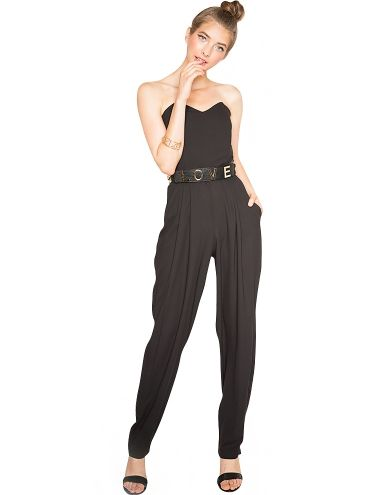 black strapless jumpsuit  cute going out jumpsuit  82