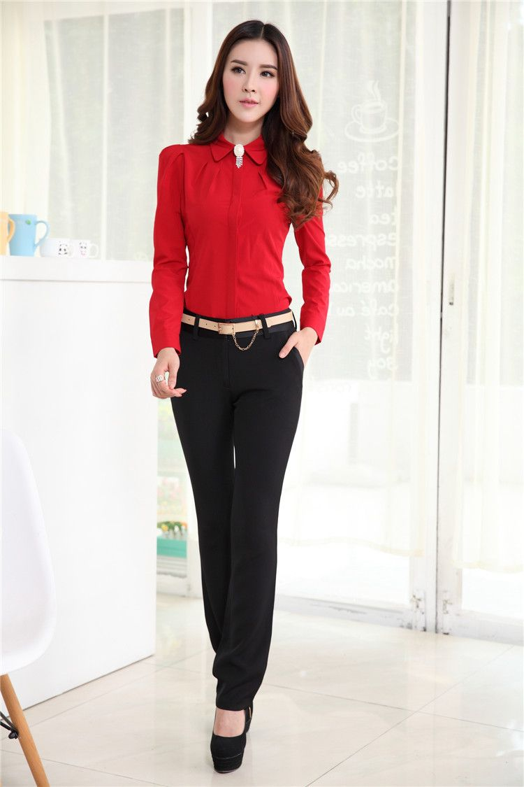 ad558dd71df Plus Size Spring Autumn Professional Business Suits With Blouses ...