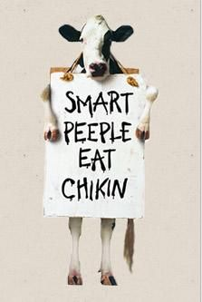 """chick fil a eat mor chikin except on sunday Chick-fil-a also works hard in their advertising, they have cows that say 'eat mor chikin"""" this convinces people to not eat meat and to instead eat chicken according to a survey this is one of the customers three favorite things."""