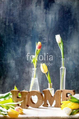 Wooden decorative letters word HOME with colorful tulips on white marble table with dark blue wall behind. Spring home decoration. - Buy this stock photo and explore similar images at Adobe Stock, #Adobe #blackMarbleTable #blue #Buy #colorful #dark #Decoration #Decorative #explore #home #IMAGES #letters #marble #MarbleTablebedroom #MarbleTabledesign #MarbleTabledining #MarbleTablediy...