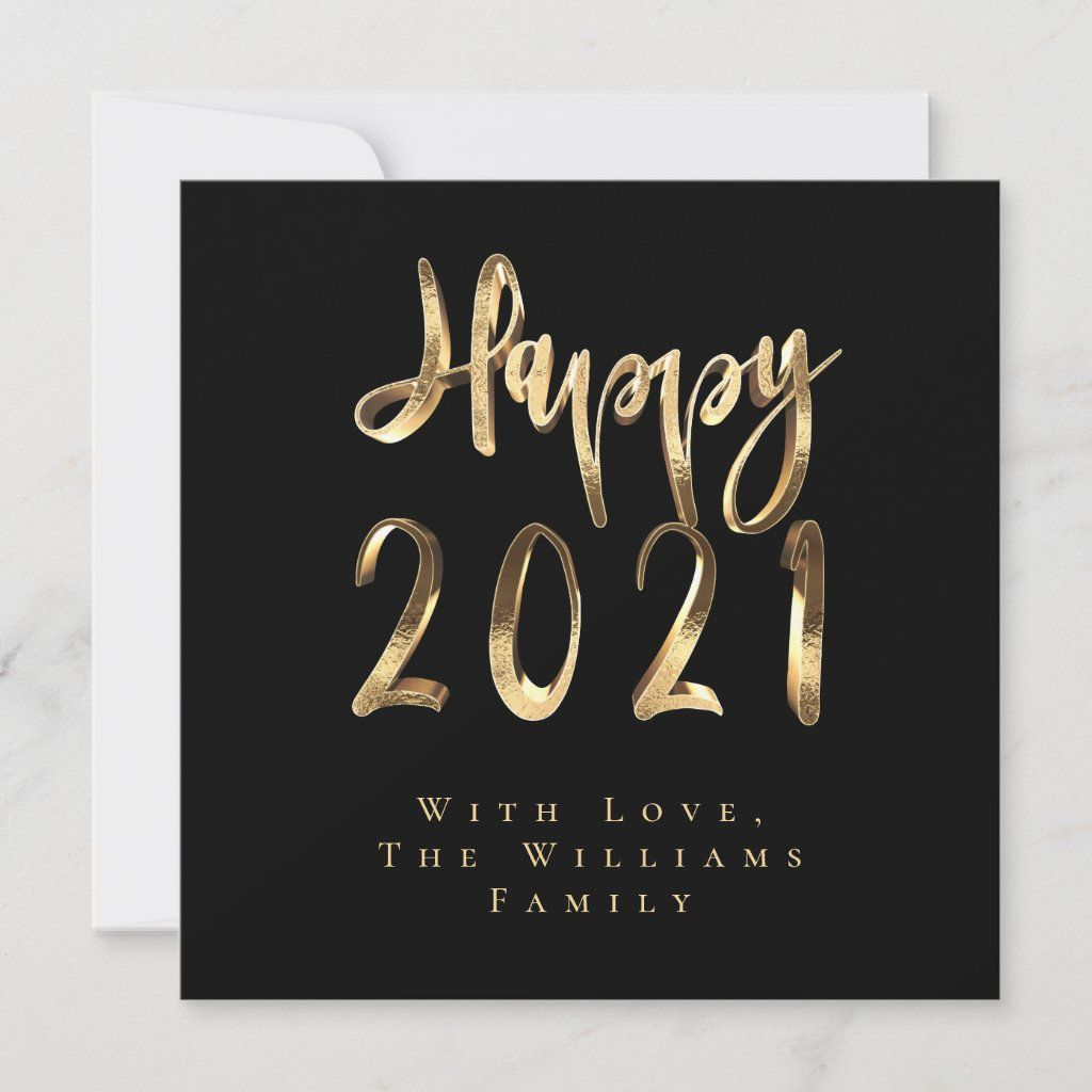 Happy New Year 2021 Elegant Black And Gold Script Holiday Card Zazzle Com In 2021 Holiday Design Card Happy New Year Cards Holiday Cards
