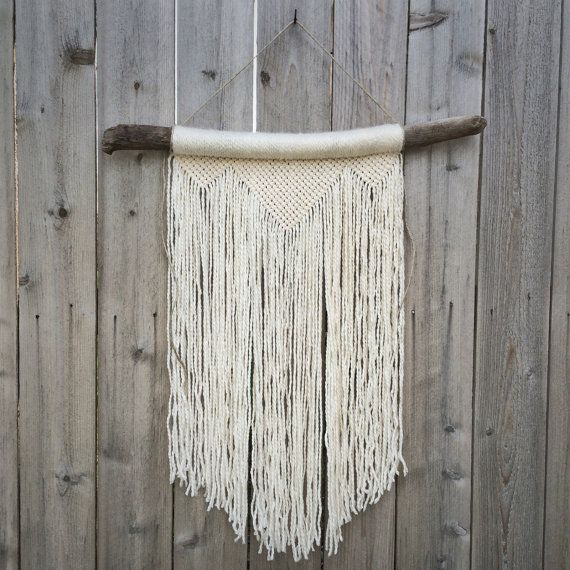 This Large White Macrame Wall Hanging On Driftwood Ideas For A Rustic Accent In The Boho Minimalist Home Or Office By House Sparrow Fine Nesting