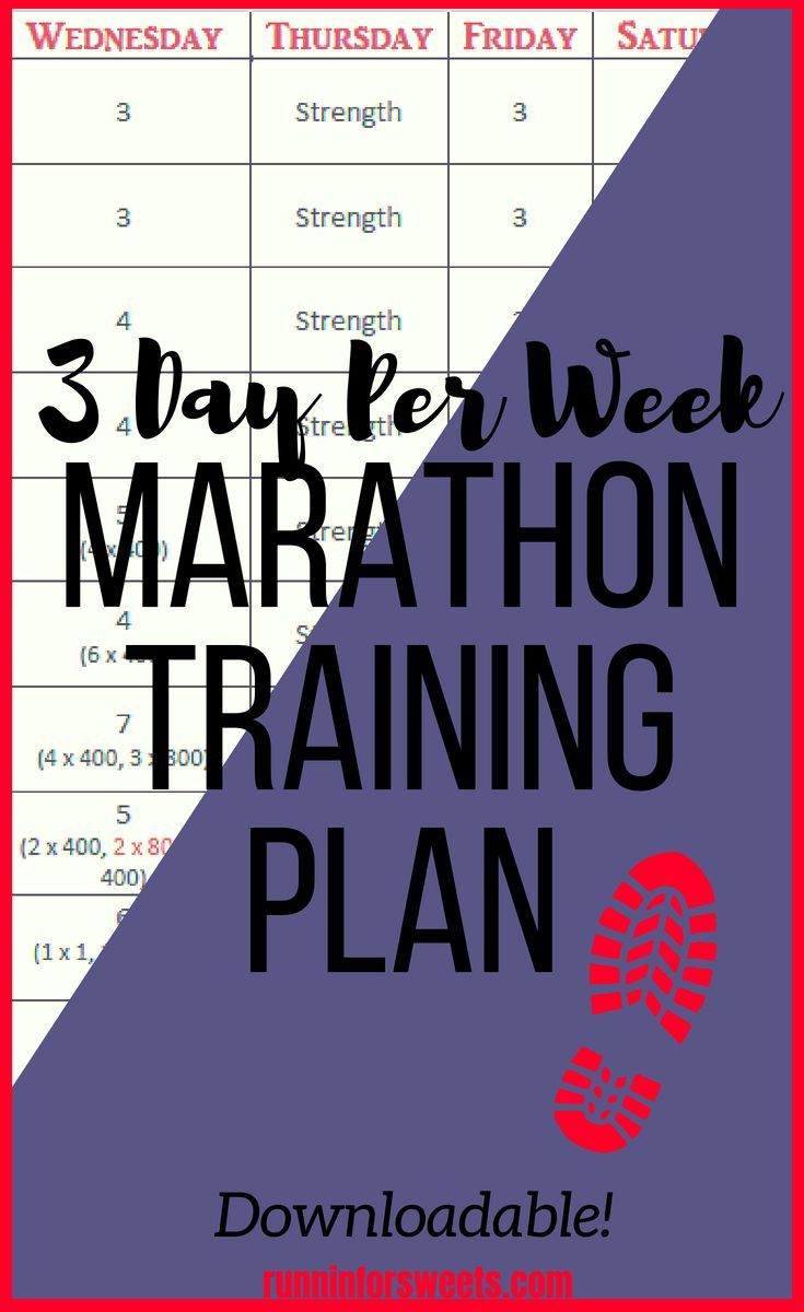 3 Day Per Week Marathon Training Plan   Runnin' for Sweets is part of Marathon training plan - Avoid marathon training mental and physical burnout by running just 3 days per week  Maintain weekly long runs and speed workouts while still having a life!