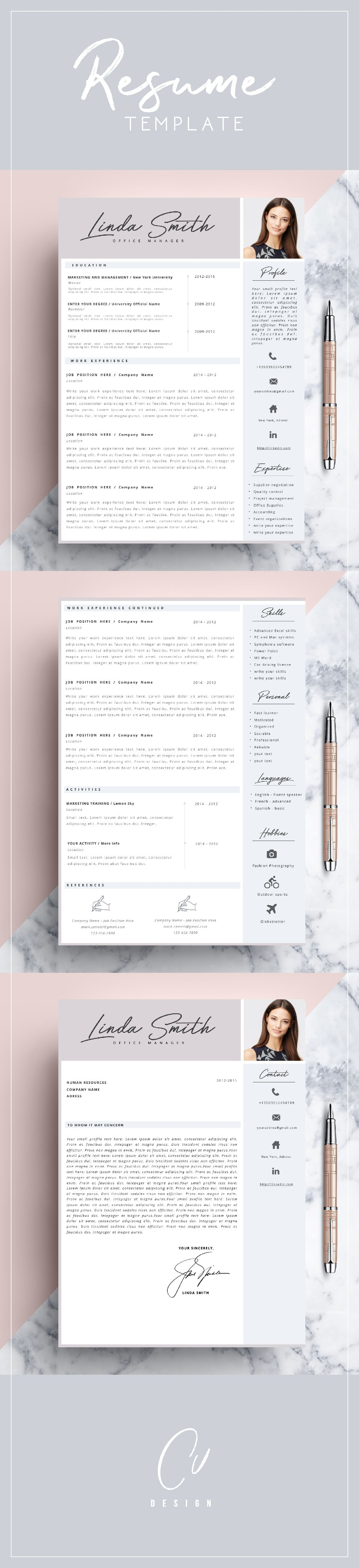 Unique Resume Ideas Custom Professional Resume Template Cv Template Editable In Ms Word And .