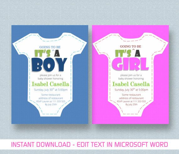 Baby Shower Invitation Baby Boy Girl Shower Card by MyPrintStudio - baby shower invitation templates for microsoft word