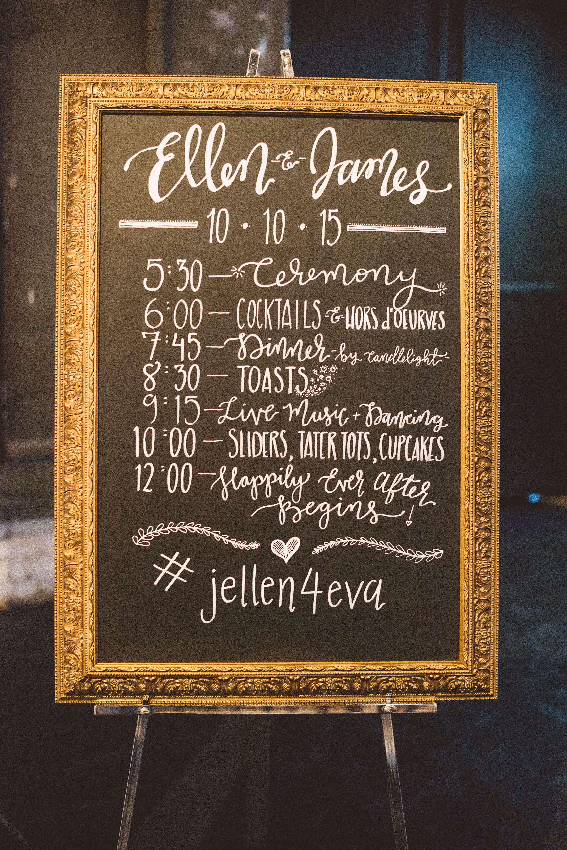 Framed Chalkboard Wedding Schedule Sign | Our Day. | Pinterest