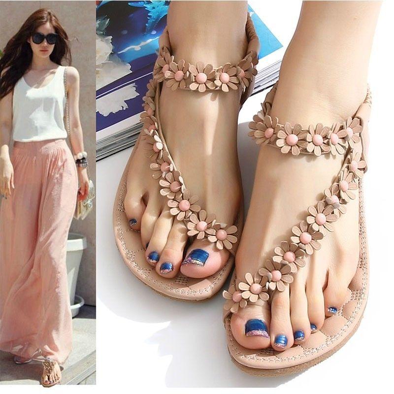 Bohemia Womens flip-flops flats Sandals Summer Rock Leaves tassel Sliders Shoes