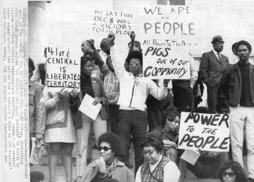 Black Panthers and others protesting and spreading the ...