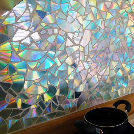 HOME DZINE Craft Ideas | Recycle CD's into a gorgeous shimmering kitchen backsplash #recycledcd HOME DZINE Craft Ideas | Recycle CD's into a gorgeous shimmering kitchen backsplash #recycledcd