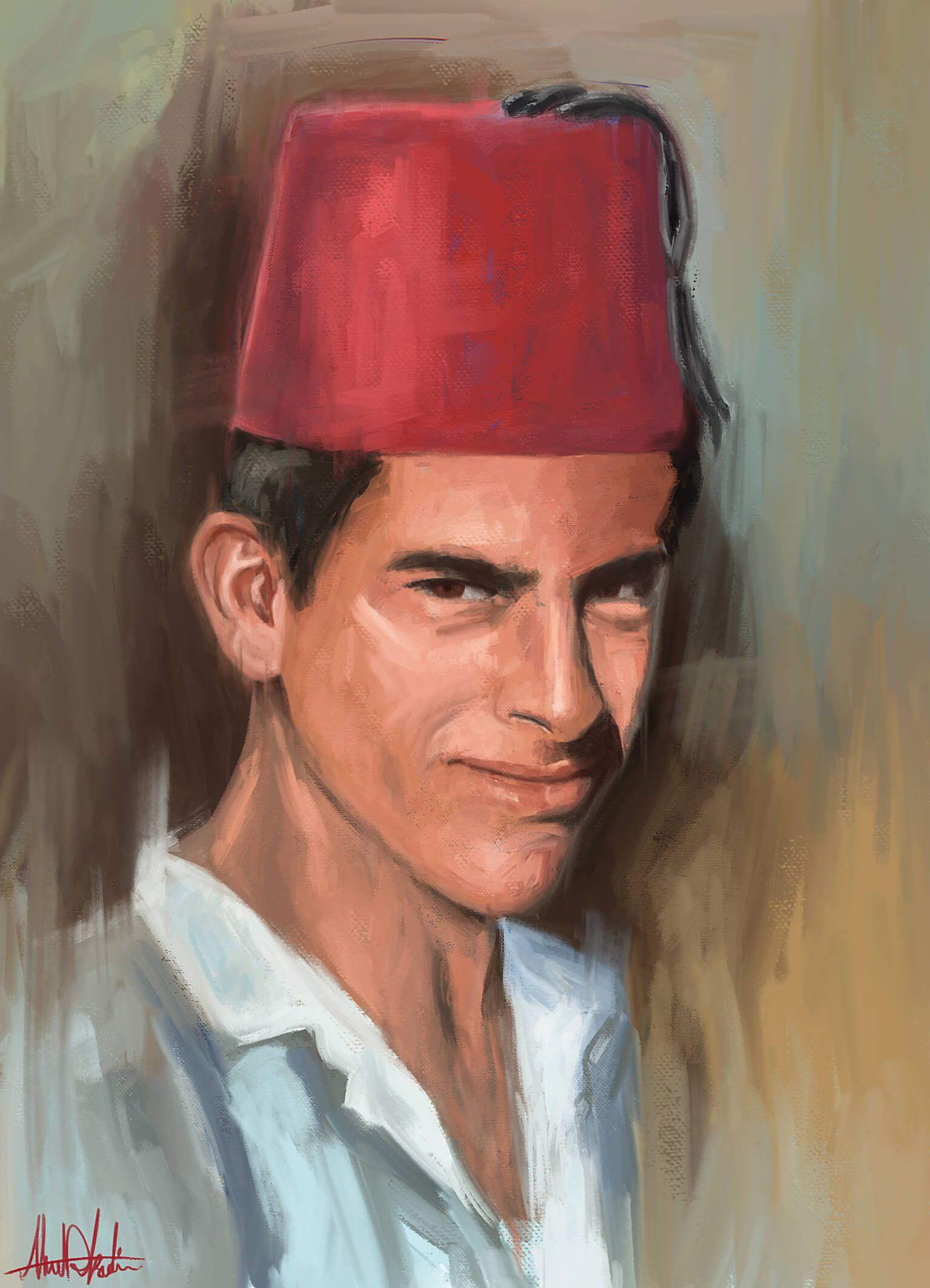 Arab man wearing traditional fez tarbooshi dont use oil painting equipment i convert photo to portrait or picture to portrait painting handmade