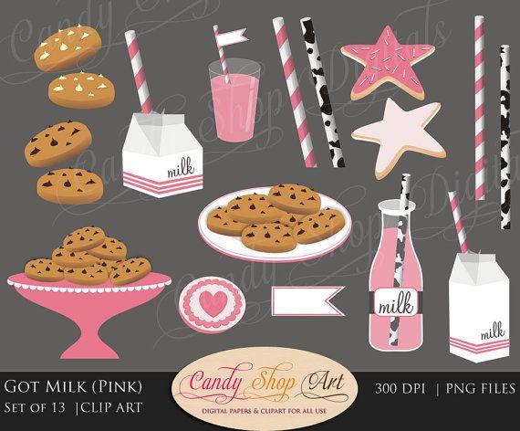 Instant Download Pink Milk And Cookies By Candyshopdigitalart Milk N Cookies Milk Chocolate Chip Cookies Milk Cookies
