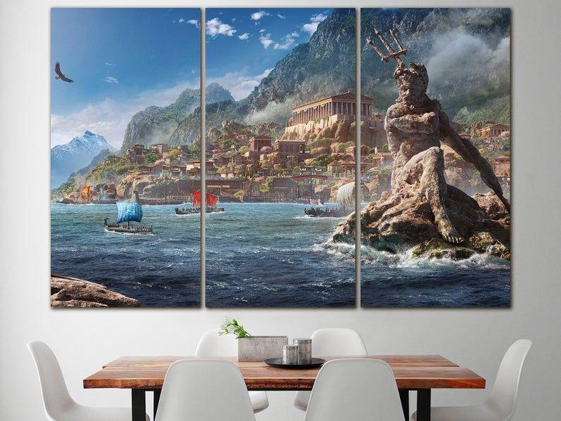 Poseidon God Canvas Greek Ancient Decor Mythology Art Ancient Etsy In 2020 Greek Paintings Rome Print Ocean Art