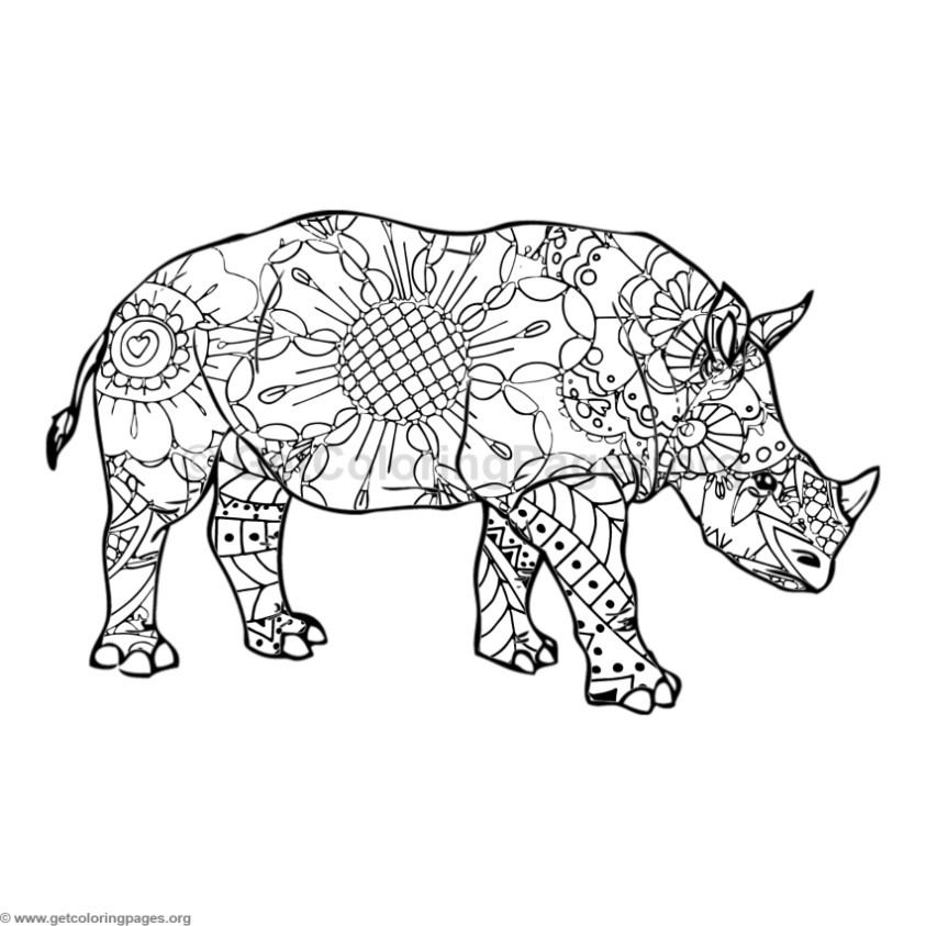 Adult Coloring Pages Image By Get Coloring Pages Rhino Pictures