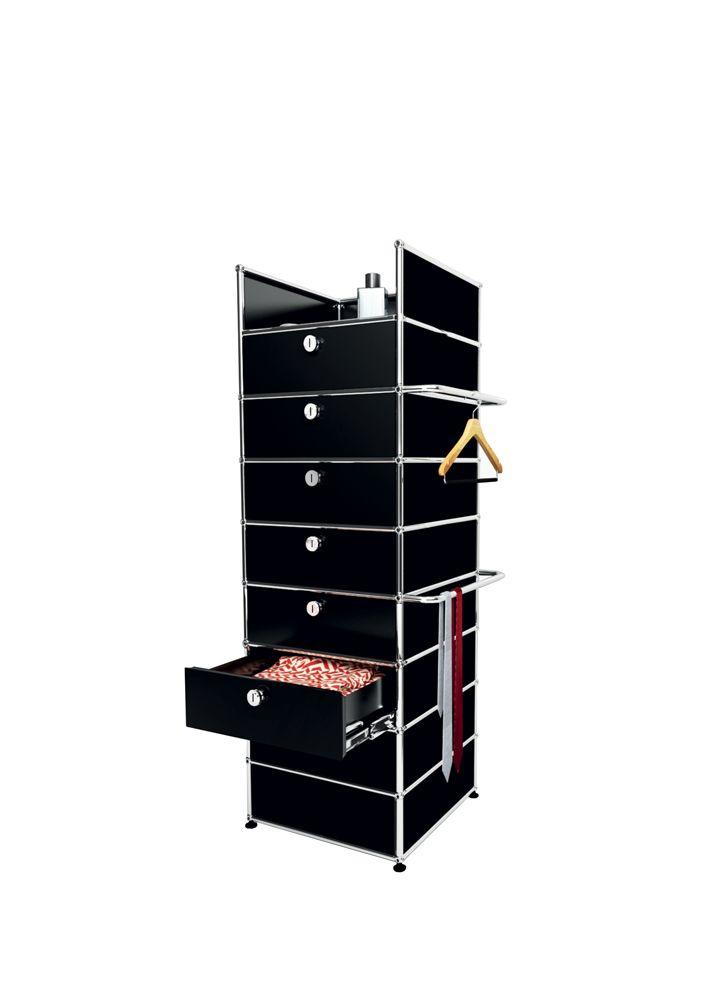 usm modular furniture wardrobe black meuble usm haller dressing noir usm pinte. Black Bedroom Furniture Sets. Home Design Ideas