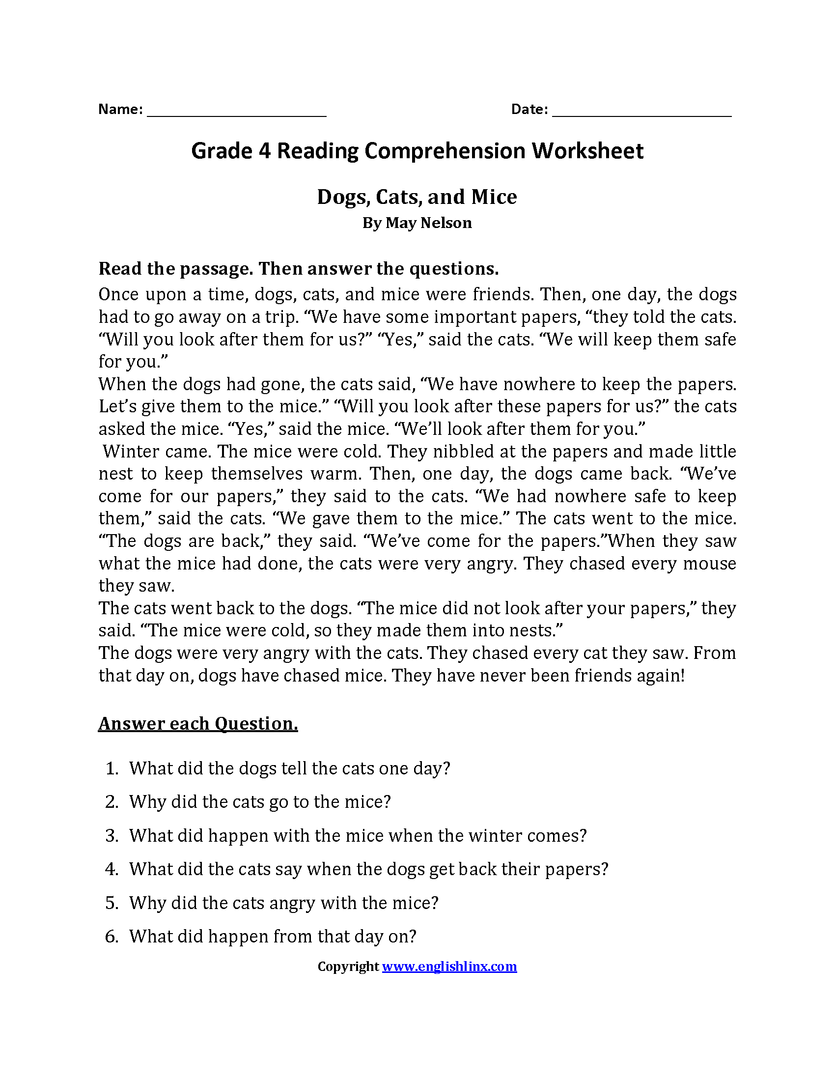 Dogs Cats And Mice Fourth Grade Reading Worksheets With