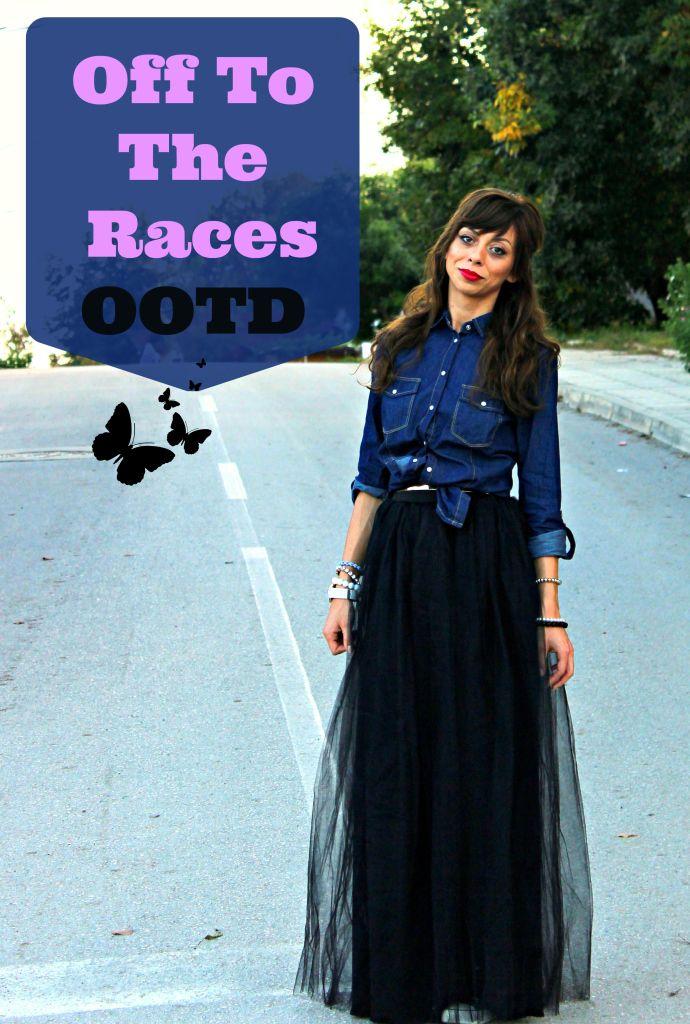 6137bbe280 Black tulle skirt, denim shirt, converse sneakers, bright lip ...