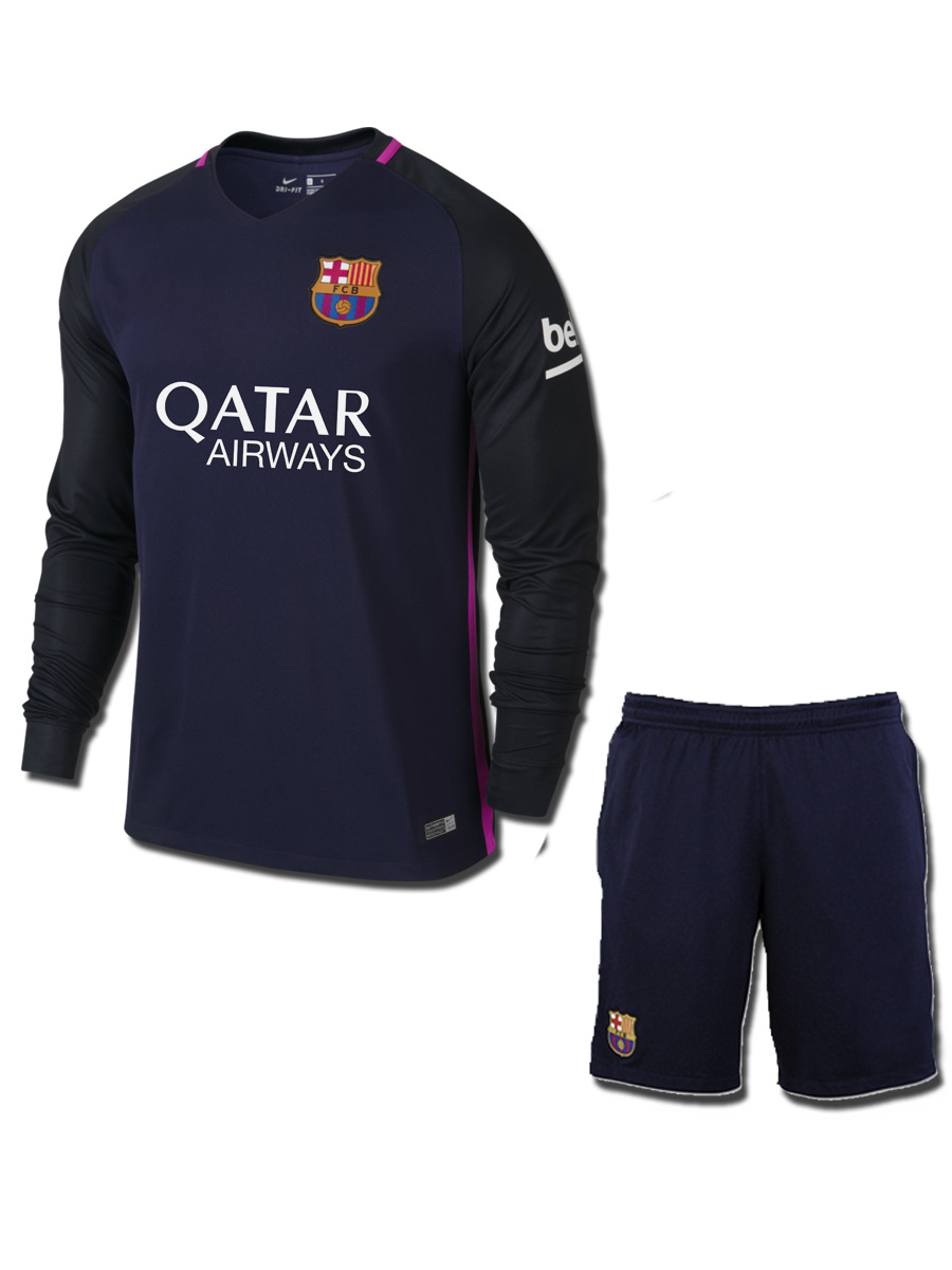 new styles 05053 708e1 Barcelona Long Sleeves Football Jersey And Shorts Home 15 16 ...