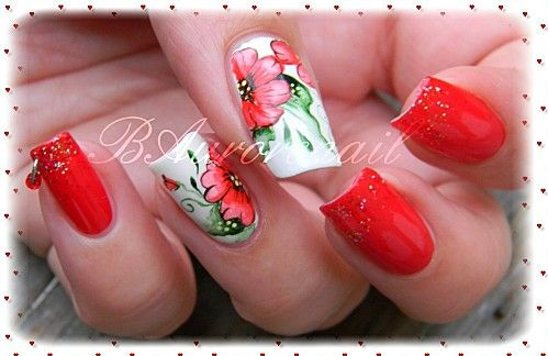 Nail Art Fleur Rouge En Aquarelle Nail Art Fleur Ongles