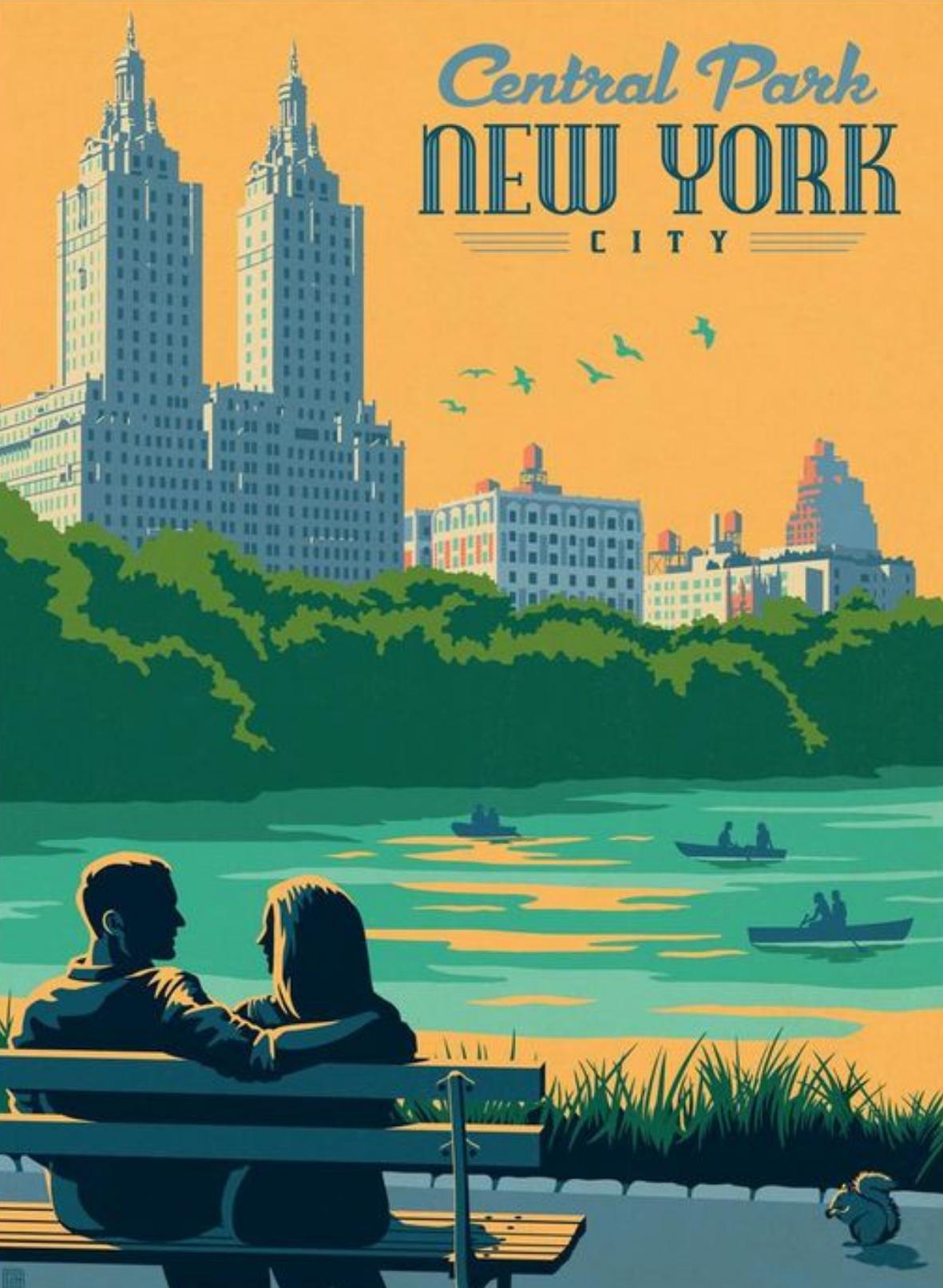 New York City New York New York Illustration Retro Travel Poster New York City Central Park