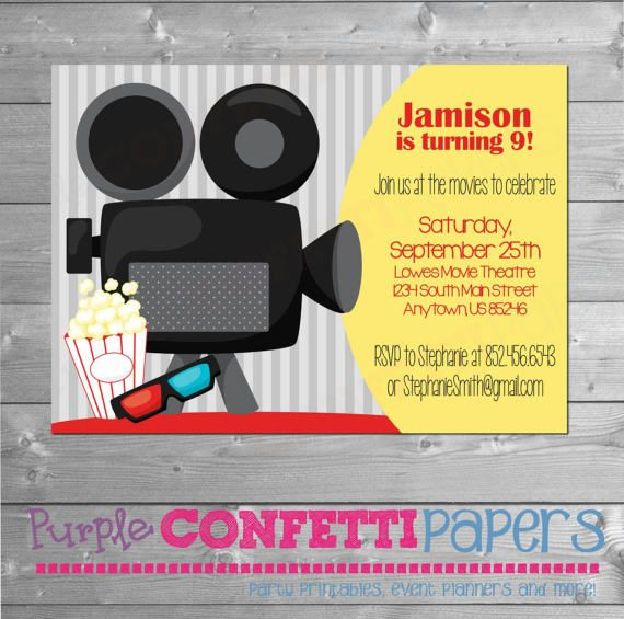 Movie Birthday Invitation By PurpleConfettiPapers