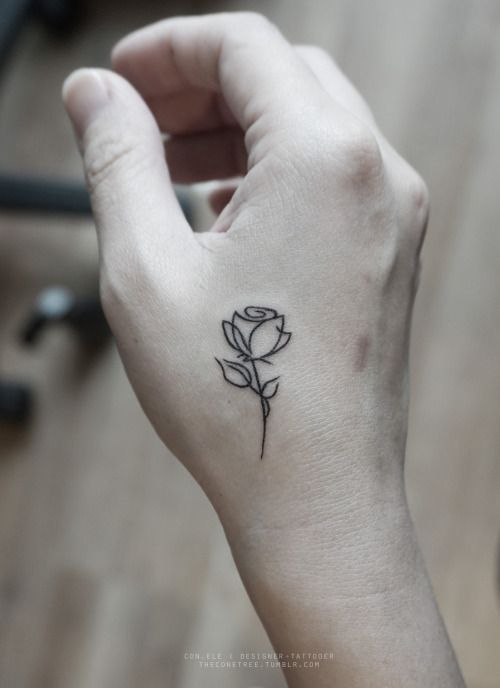 These Teeny Tiny Tattoos Just Go To Show That Sometimes Less Is More Have A Look At The 57 So Cute I Could Die Tatt Rose Outline Tattoo Tattoos Hand Tattoos