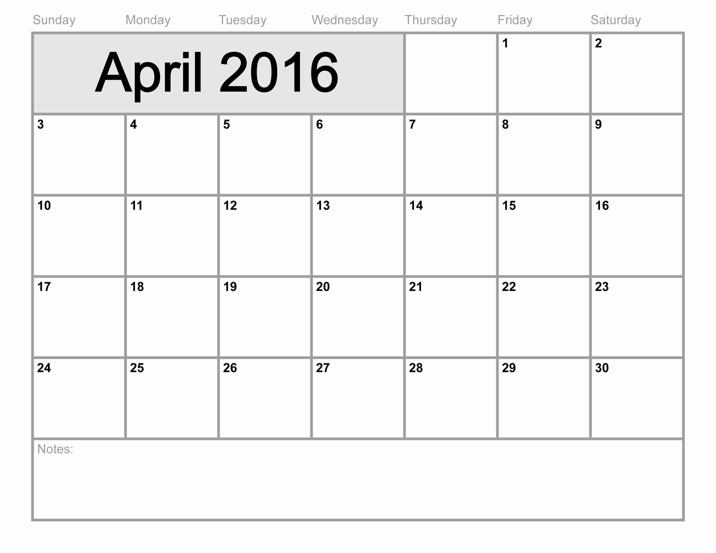 Printable 2016 Monthly Calendar Template Elegant April Is National