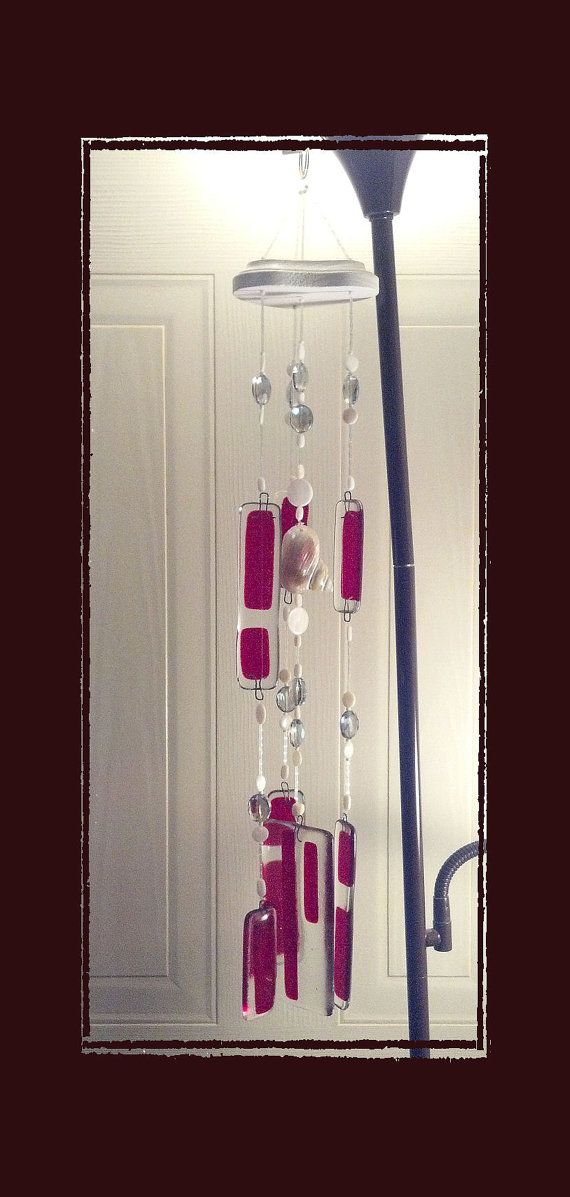 Sea Shell Fused Glass Wind Chime 24L Red  Handmade by Eagle414