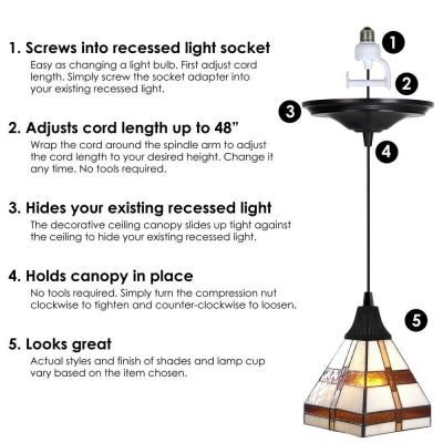 Worth Home Products Instant Pendant 1 Light Recessed Light Conversion Kit Antique Bronze Craftsman Style Shade Pkn 2215 Recessed Lighting Recessed Light Conversion Kit Light