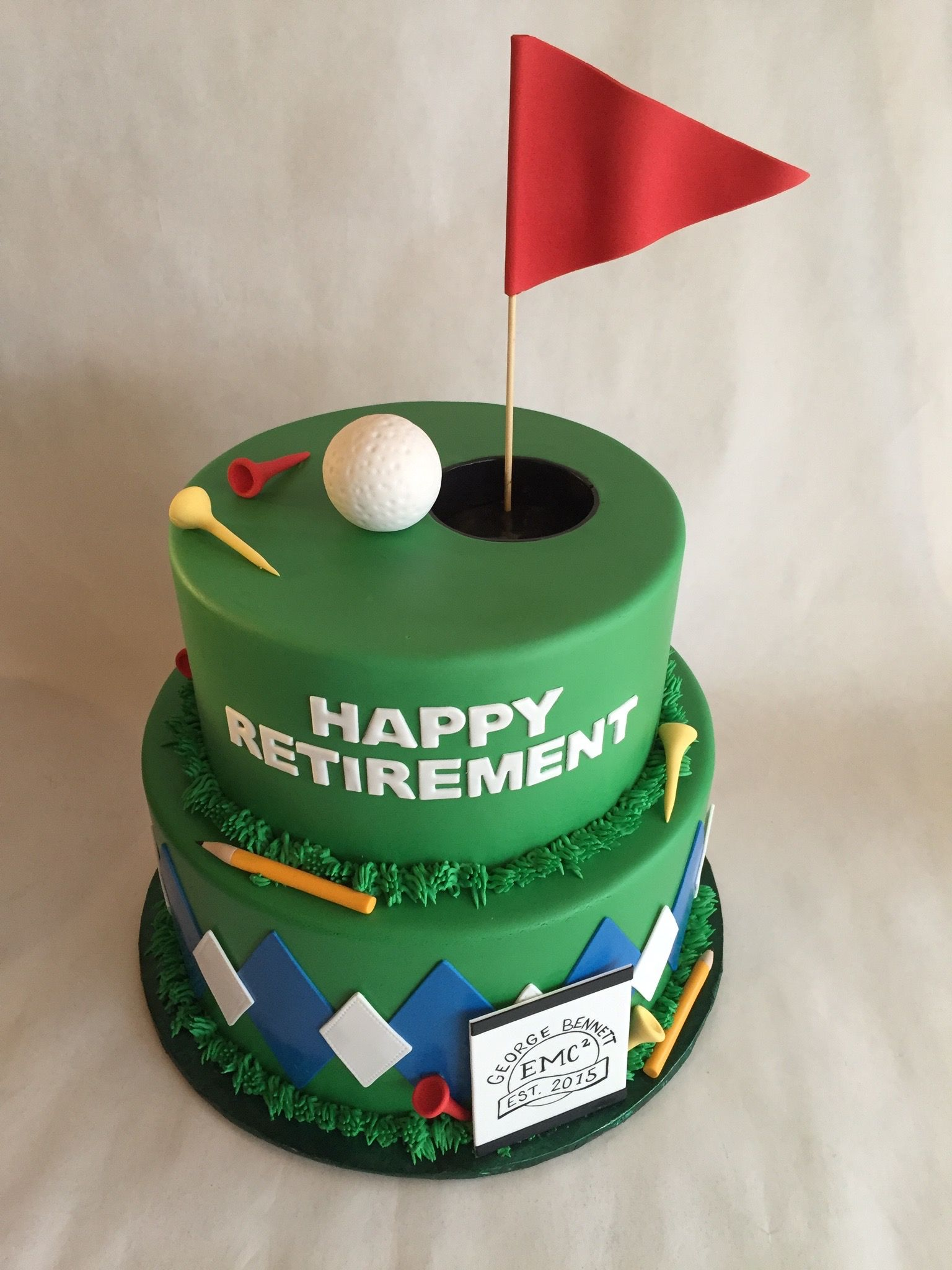 Golf cake retirement cake fondant argyle tees golf ball