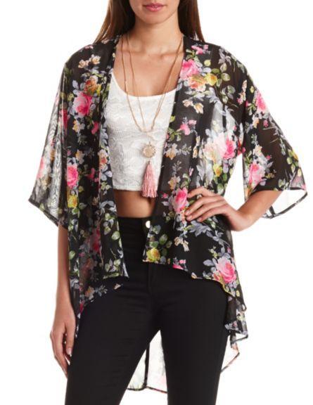 Sheer Floral Print Kimono Top: Charlotte Russe