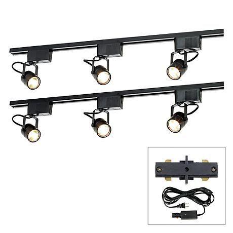 Pro Track Black 300w 6 Light Lv Plug In Linear Track Kit 21a93 Lamps Plus Track Lighting Black Track Lighting Plug In Pendant Light