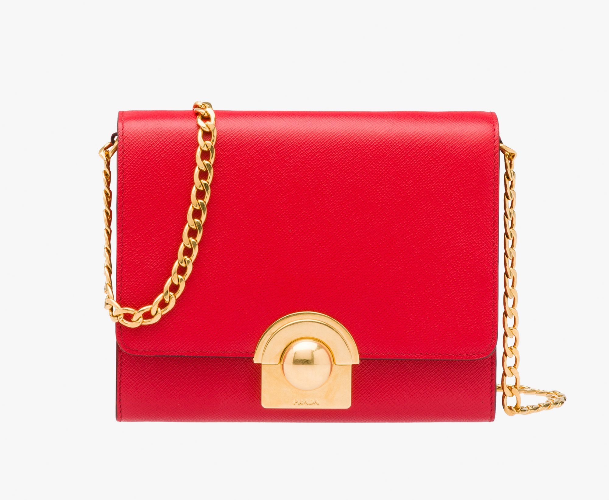 f7400523f5a3 The Monkey Chatters - Prada Red Saffliano Shoulder Bag - $1,550.00 Red Shoulder  Bags, Leather