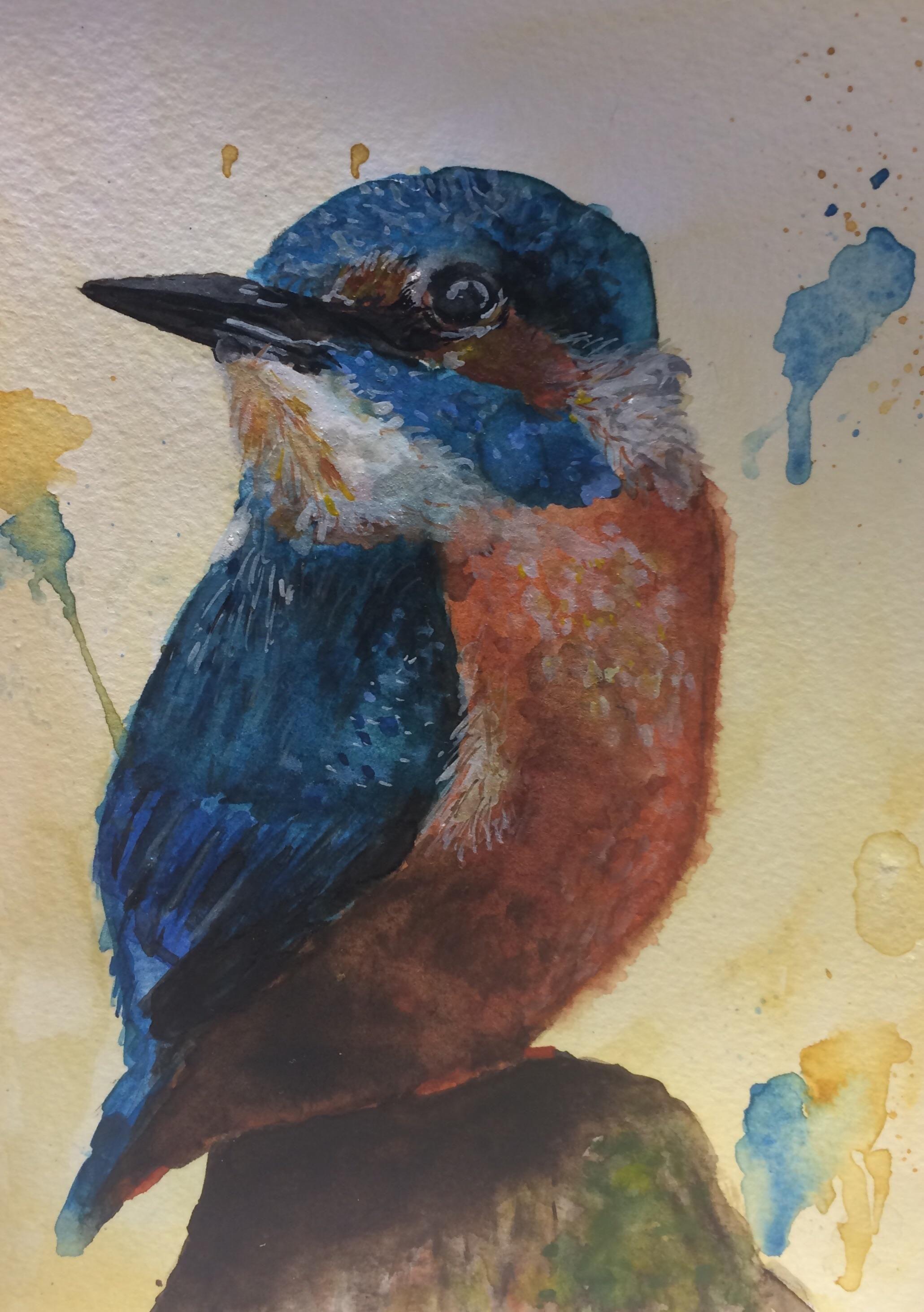 Kingfisher watercolour 8x6