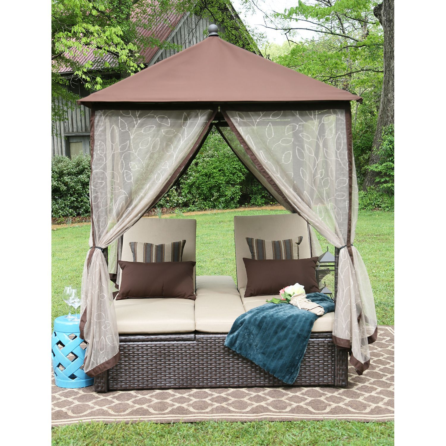 Arden Double Chaise Gazebo - Samu0027s Club  sc 1 st  Pinterest : double chaise lounge with canopy - Sectionals, Sofas & Couches