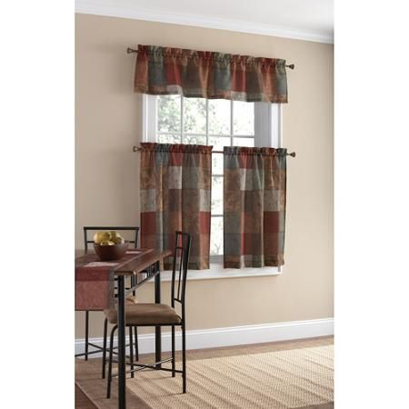 Mainstays Polyester Kitchen Curtain And Valance Set Walmart Com Kitchen Curtains And Valances Small Curtains Kitchen Curtains
