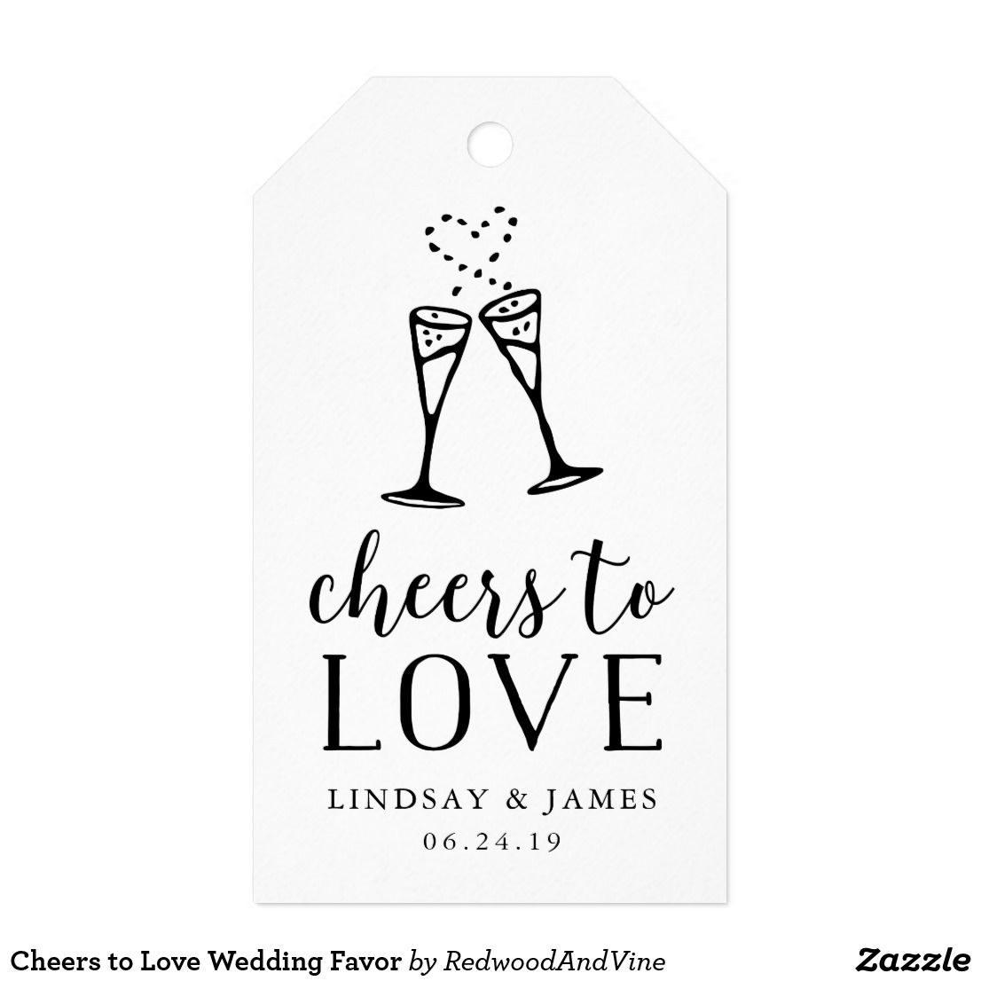 Cheers to Love Wedding Favor Gift Tags Sending your guests home with ...